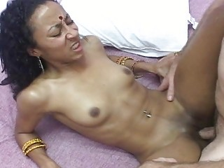 Nasty Indian babe spreads her legs for white fuck boy