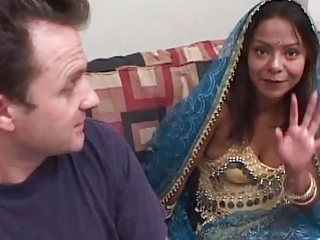 Indian slut and horny white guy have interracial fuck session