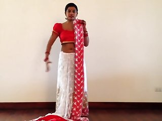 Indian Girl Giving Sari Lesson