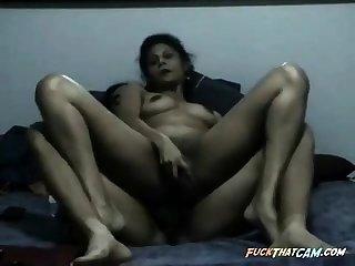 Hardcore Indian MILF double pussy penetration