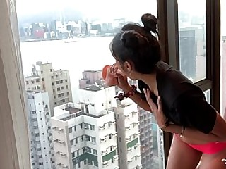 CUTE PETITE INDIAN GIRL MASTERBATES ON TALL BUILDING GLASS WINDOW HONG KONG