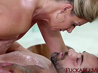 BIg ass mom is nailed in the bathroom