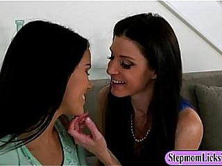 India Summer and Megan Rain lesbian sex on the couch