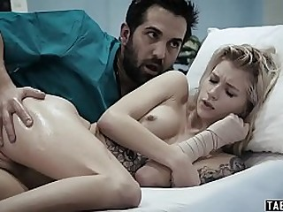 Hospitalized teenie fucked by her caretaker